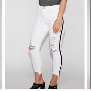 Express Distressed White Cropped Ankle Jean 4 NWT